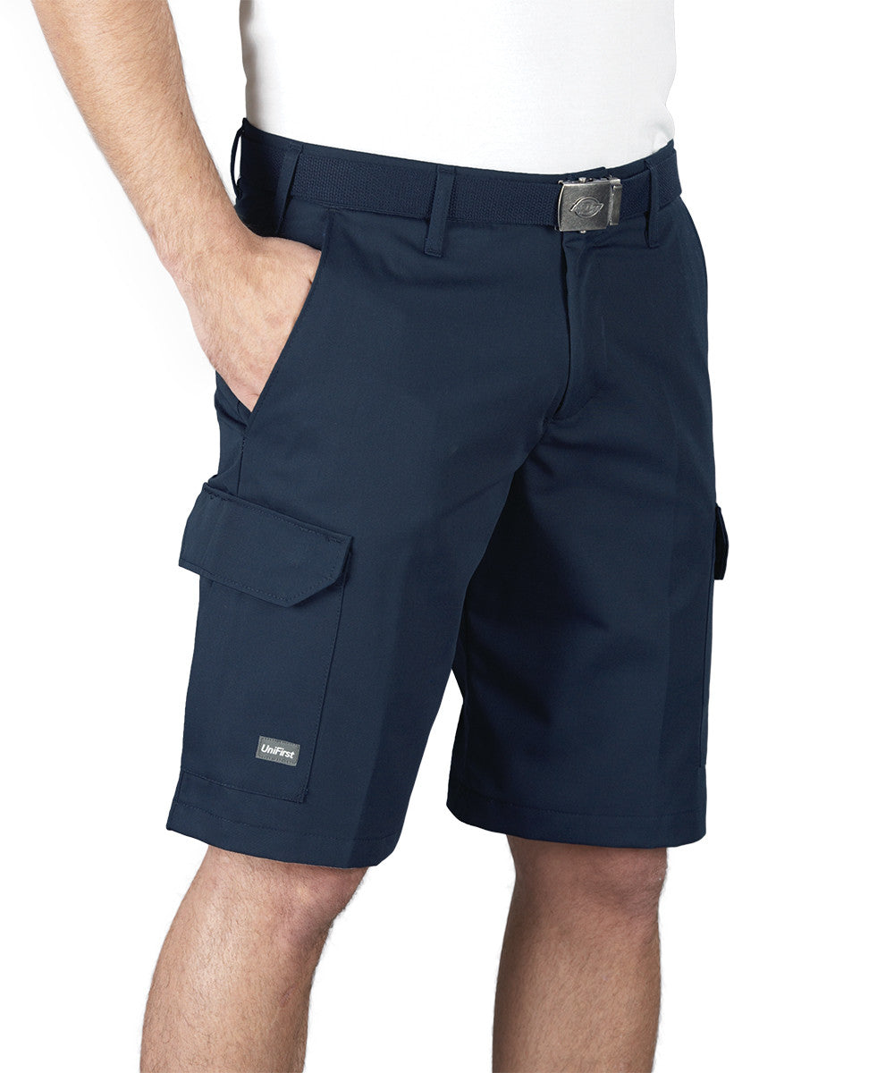Navy Blue SofTwill® Cargo Shorts Shown in UniFirst Uniform Rental Service Catalog