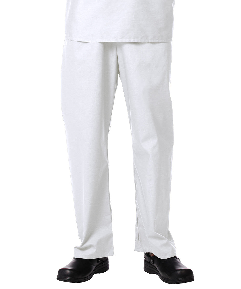 White Unisex Scrub Pants Shown in UniFirst Uniform Rental Service Catalog