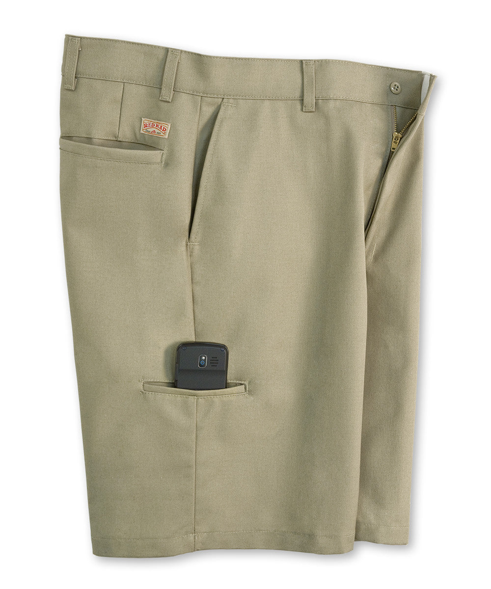 Khaki Cell Phone Shorts Shown in UniFirst Uniform Rental Service Catalog
