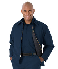 Navy Blue UniWear® Permalined Hip Jackets Shown in UniFirst Uniform Rental Service Catalog