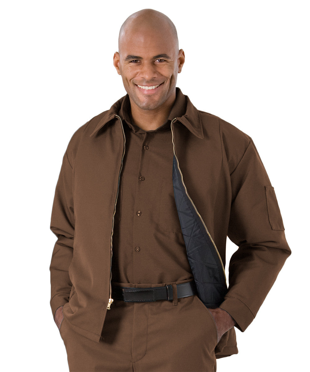 Brown UniWear® Permalined Hip Jackets Shown in UniFirst Uniform Rental Service Catalog