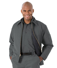 Charcoal UniWear® Permalined Hip Jackets Shown in UniFirst Uniform Rental Service Catalog