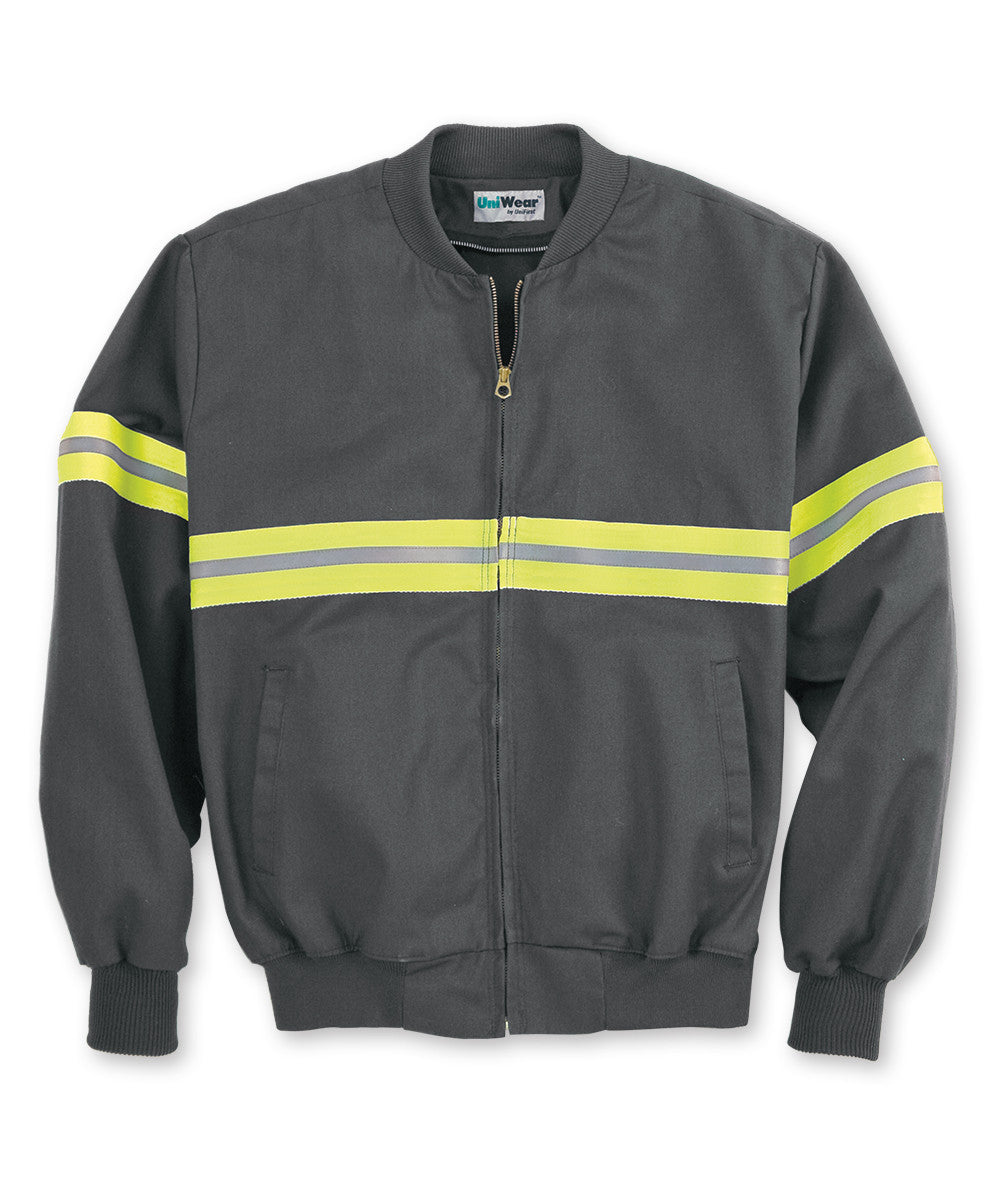 Charcoal/Yellow Enhanced Visibility UniWear® Jackets Shown in UniFirst Uniform Rental Service Catalog