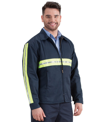 Enhanced Visibility Permalined Safety Jackets with Yellow Reflective Striping