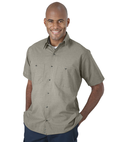 Tan UniWeave® Soft Comfort MicroCheck ShirtJacs Shown in UniFirst Uniform Rental Service Catalog