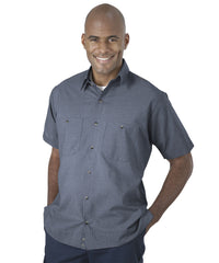 Light Blue UniWeave® Soft Comfort MicroCheck ShirtJacs Shown in UniFirst Uniform Rental Service Catalog