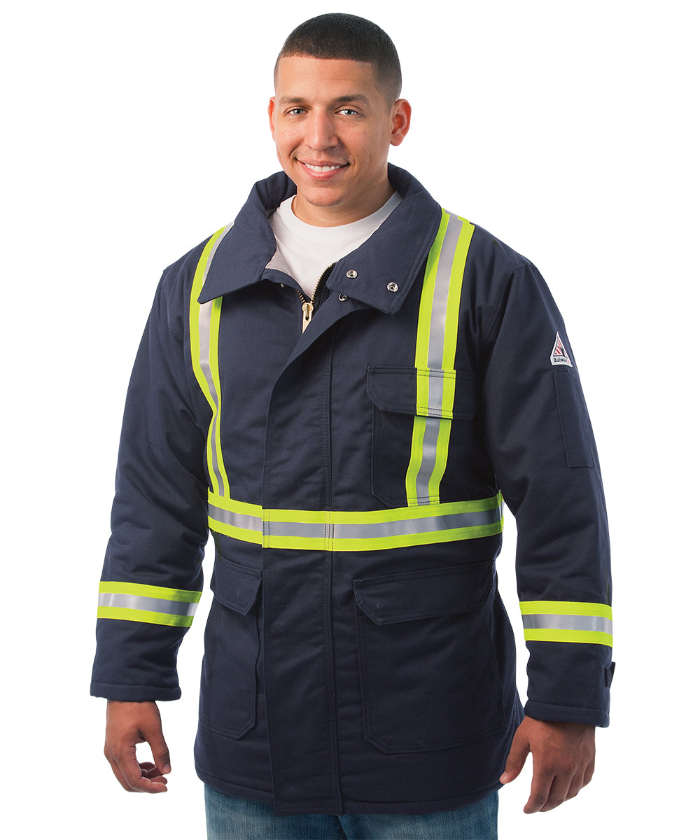 Bulwark® FR Flame Resistant Parkas with Retroreflective Trim as shown in the UniFirst Rental Catalog