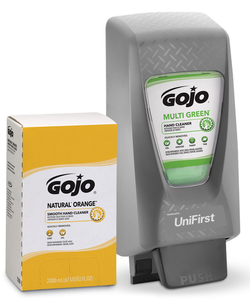 GOJO® NATURAL* ORANGE™ Smooth Hand Cleaner Hand Cleaner 2000 mL with GOJO PRO TDX 2000 Dispenser (Grey) shown in UniFirst Facility Services catalog.