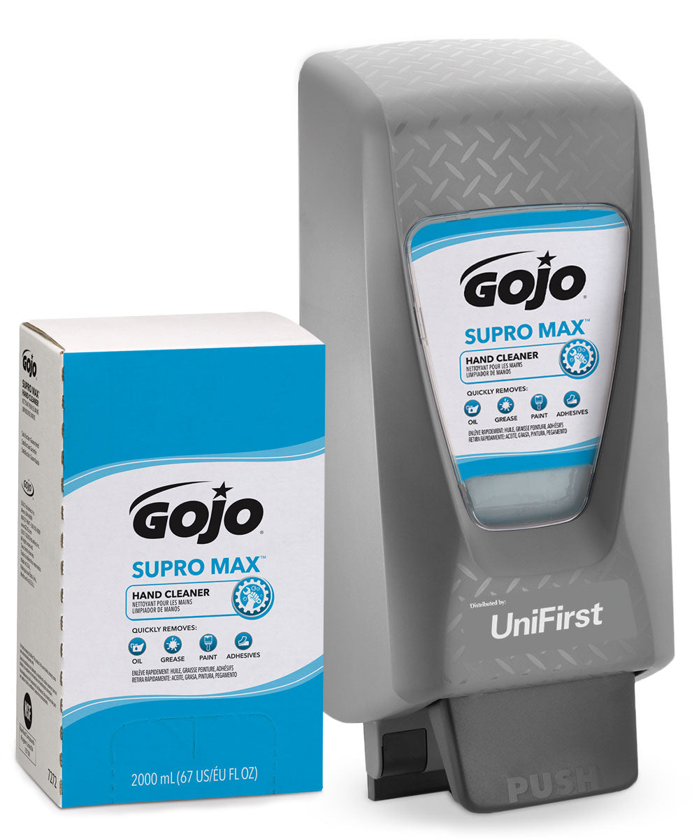 GOJO® SUPRO MAX™ Heavy Duty Hand Cleaner (2000 mL) with GOJO® PRO TDX 2000 Dispenser (Gray) shown in UniFirst Facility Services catalog.