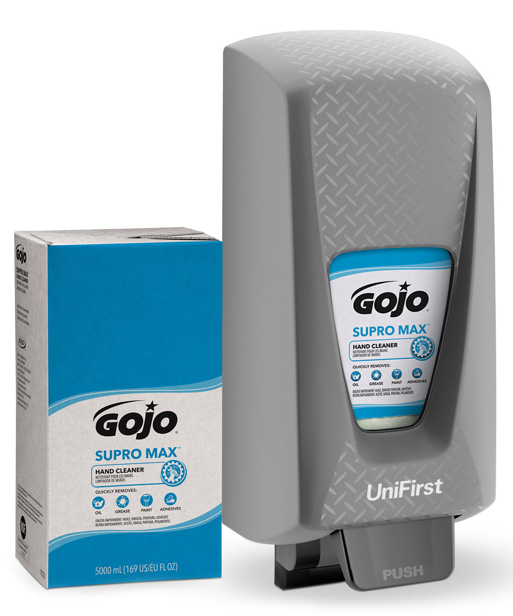 GOJO® SUPRO MAX™ Heavy Duty Hand Cleaner (5000 mL) with GOJO® PRO TDX 5000 Dispenser (Gray) as shown in the UniFirst Facility Services Catalog.