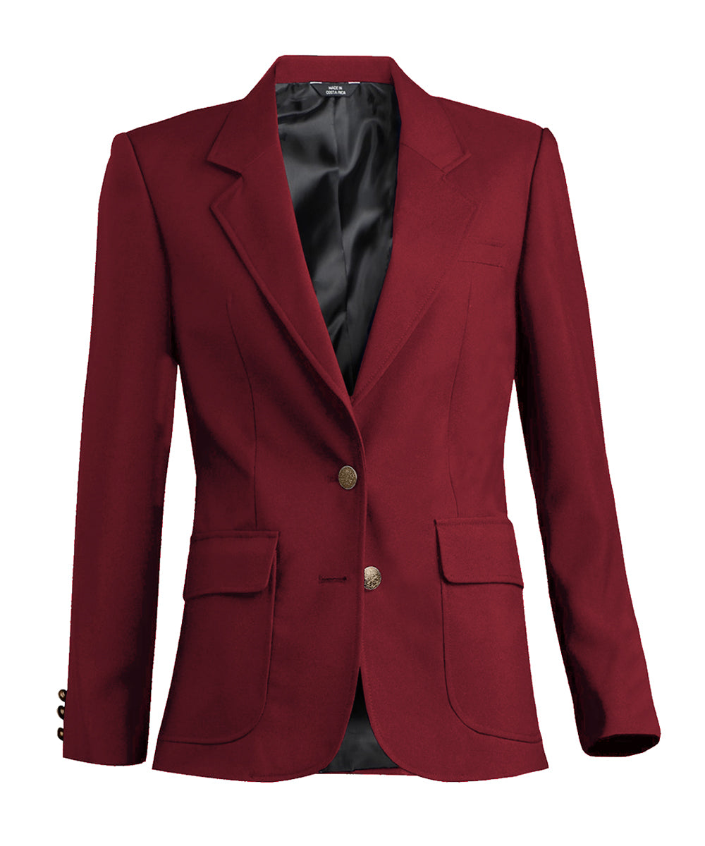 Women's Blazers (Burgundy) as shown in the Hospitality Collection in the UniFirst Uniforms Rental Catalog.