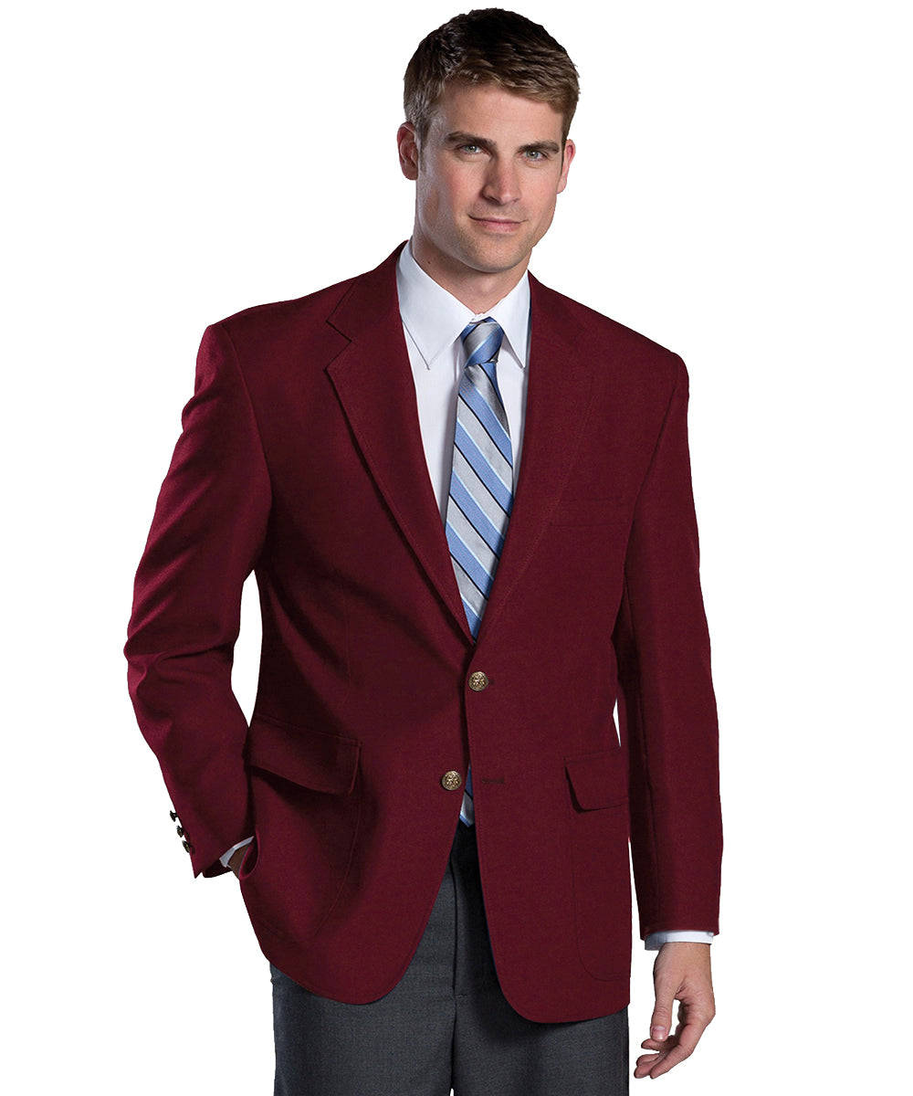Men's Blazers (Burgundy) as shown in the Hospitality Collection in the UniFirst Uniforms Rental Catalog.