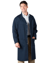 Navy Blue UniWear® Shop Coats Shown in UniFirst Uniform Rental Service Catalog