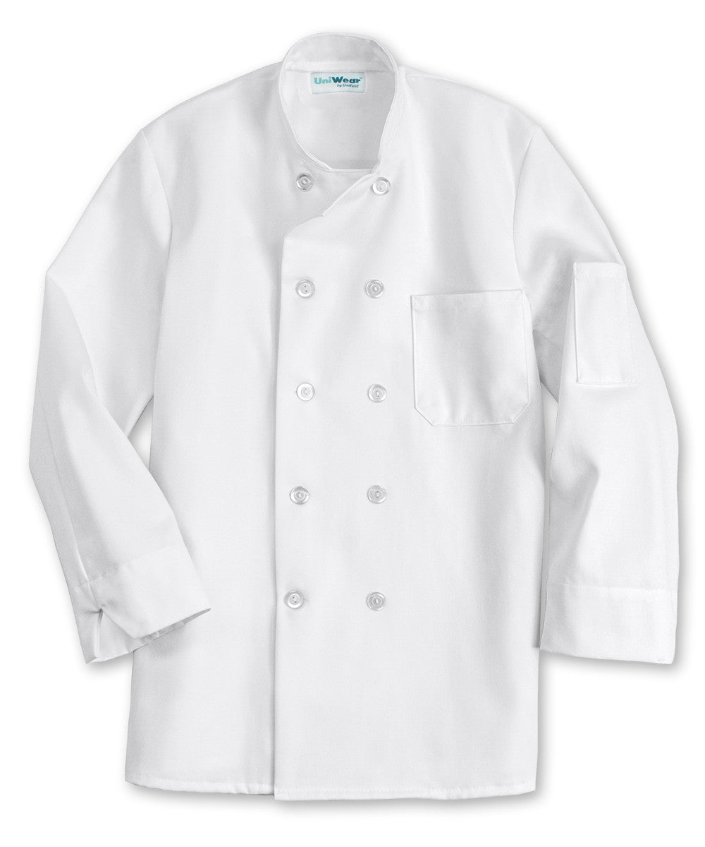 White UniFirst® 10-Button Full Sleeve Chef Coats Shown in UniFirst Uniform Rental Service Catalog