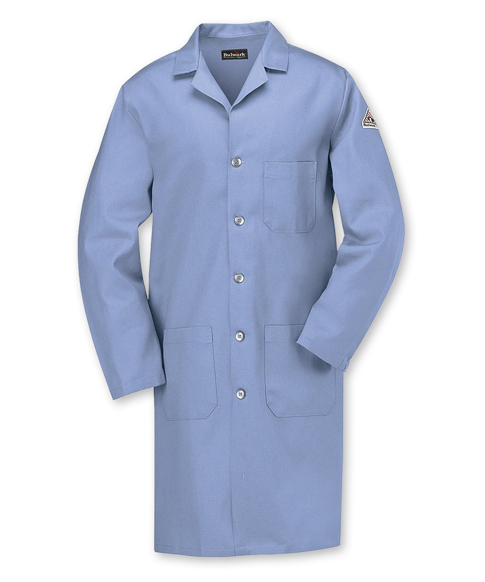 Flame Resistant Lab Coats (Light Blue) as shown in the UniFirst Uniforms Rental Catalog.