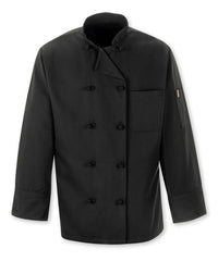 Black 10-Knot Full Sleeve Chef Coat Shown in UniFirst Uniform Rental Service Catalog