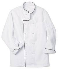 White Executive Chef Coat with Black Piping Shown in UniFirst Uniform Rental Service Catalog