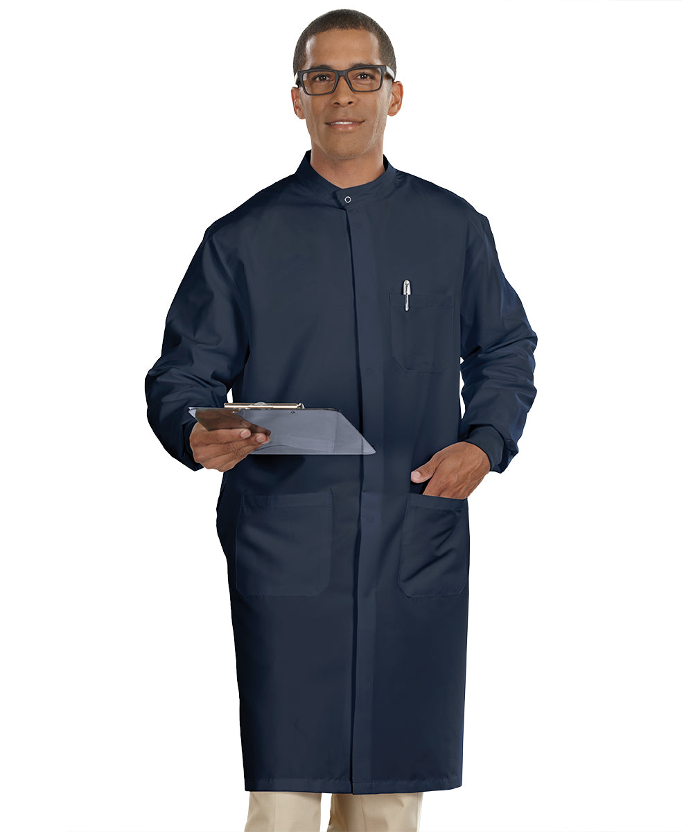 Navy Blue Unisex Protective Lab Coats Shown in UniFirst Uniform Rental Service Catalog