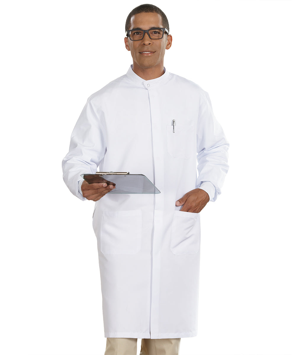 White Unisex Protective Lab Coats Shown in UniFirst Uniform Rental Service Catalog