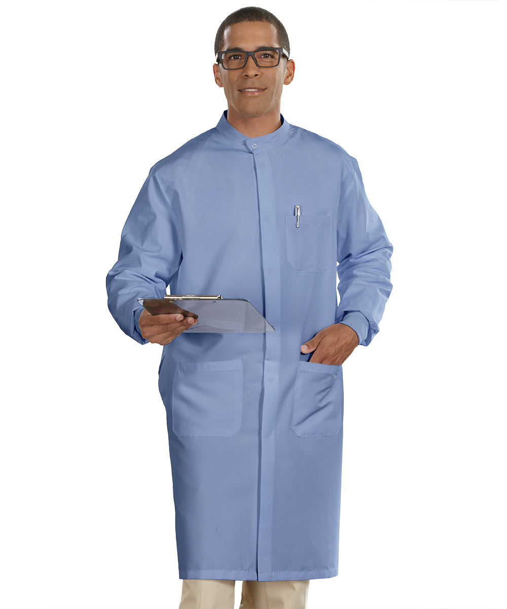 Ciel Blue Unisex Protective Lab Coats Shown in UniFirst Uniform Rental Service Catalog