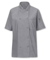 Women's MIMIX™ OilBlok Short Sleeve Ten Button Chef Coat (grey) as shown in the UniFirst Rental Catalog