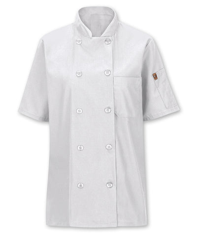 Women's MIMIX™ OilBlok Short Sleeve 10-Button Chef Coats