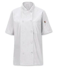 Women's MIMIX™ OilBlok Short Sleeve Ten Button Chef Coat (white) as shown in the UniFirst Rental Catalog