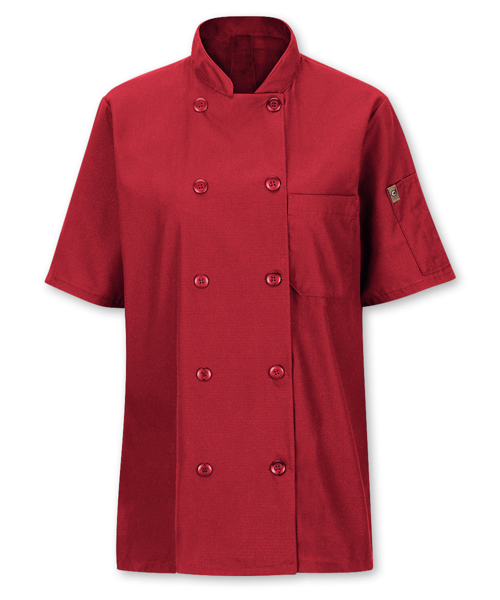 Women's MIMIX™ OilBlok Short Sleeve Ten Button Chef Coat (red) as shown in the UniFirst Rental Catalog