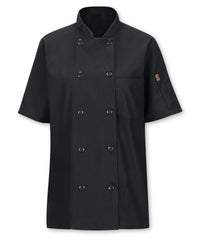 Women's MIMIX™ OilBlok Short Sleeve Ten Button Chef Coat (black) as shown in the UniFirst Rental Catalog