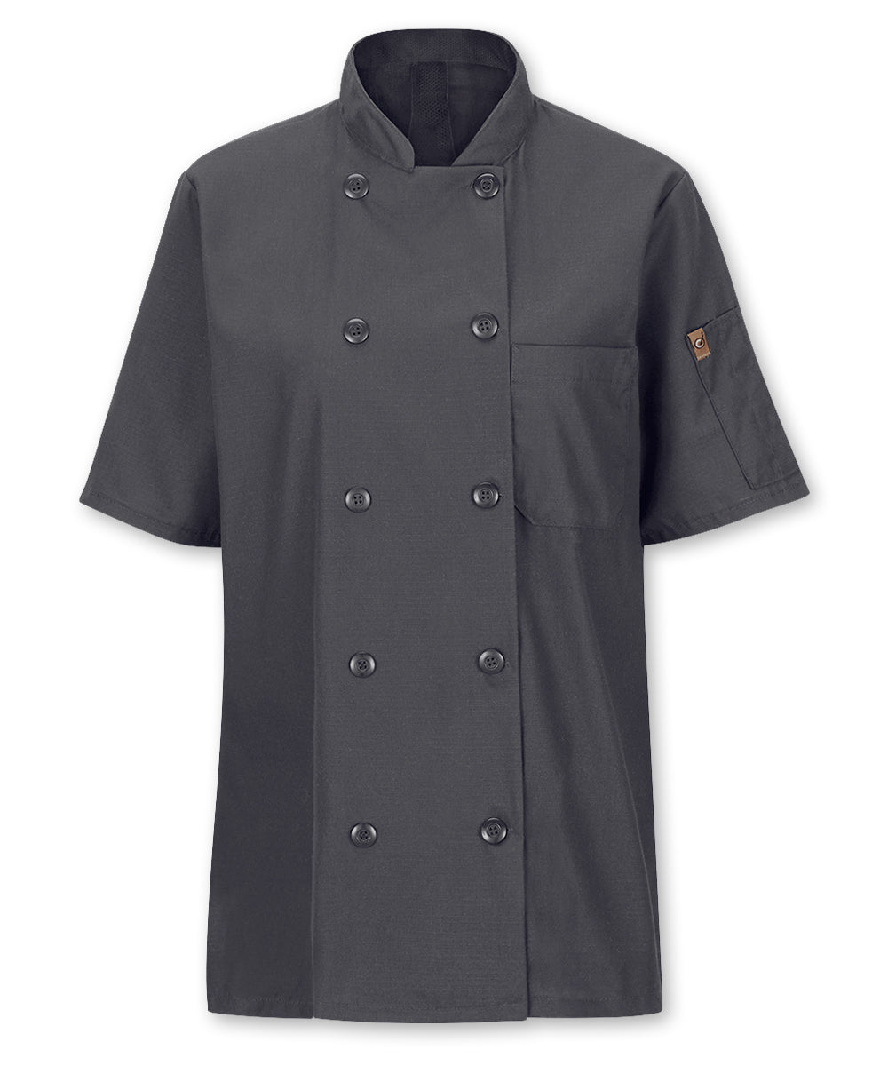 Women's MIMIX™ OilBlok Short Sleeve Ten Button Chef Coat (charcoal) as shown in the UniFirst Rental Catalog