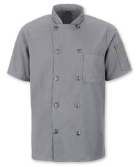 Men's MIMIX™ OilBlok Short Sleeve Ten Button Chef Coats (grey) as shown in the UniFirst Rental Catalog