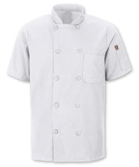 Men's MIMIX™ OilBlok Short Sleeve Ten Button Chef Coats (white) as shown in the UniFirst Rental Catalog