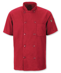 Men's MIMIX™ OilBlok Short Sleeve Ten Button Chef Coats (red) as shown in the UniFirst Rental Catalog