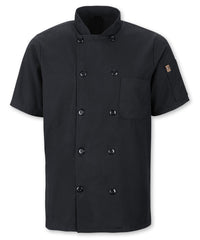 Men's MIMIX™ OilBlok Short Sleeve Ten Button Chef Coats (black) as shown in the UniFirst Rental Catalog
