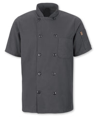 Men's MIMIX™ OilBlok Short Sleeve Ten Button Chef Coats (charcoal) as shown in the UniFirst Rental Catalog