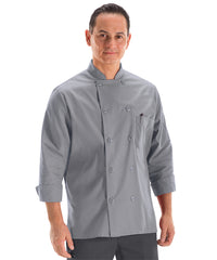 Men's MIMIX™ OilBlok Long Sleeve Ten Button Chef Coats (grey) as shown in the UniFirst Rental Catalog