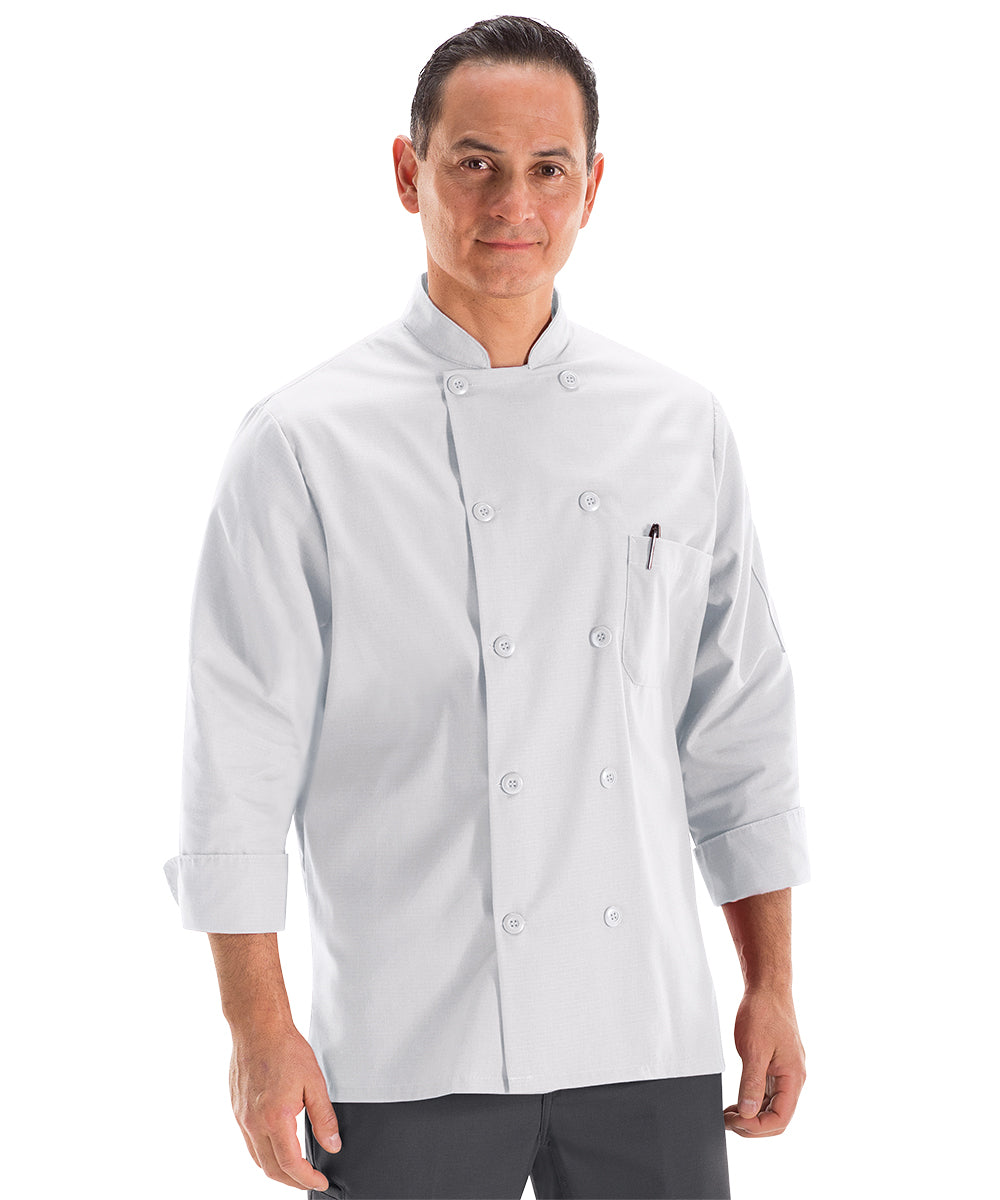 Men's MIMIX™ OilBlok Long Sleeve Ten Button Chef Coats (white) as shown in the UniFirst Rental Catalog