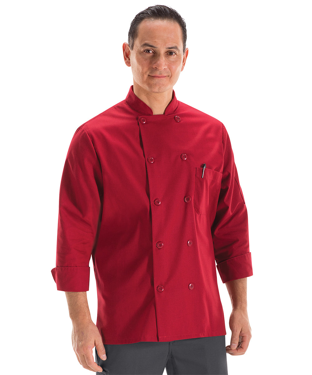 Men's MIMIX™ OilBlok Long Sleeve Ten Button Chef Coats (red) as shown in the UniFirst Rental Catalog