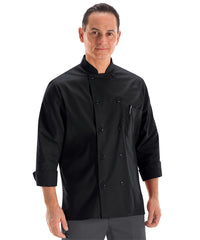 Men's MIMIX™ OilBlok Long Sleeve Ten Button Chef Coats (black) as shown in the UniFirst Rental Catalog