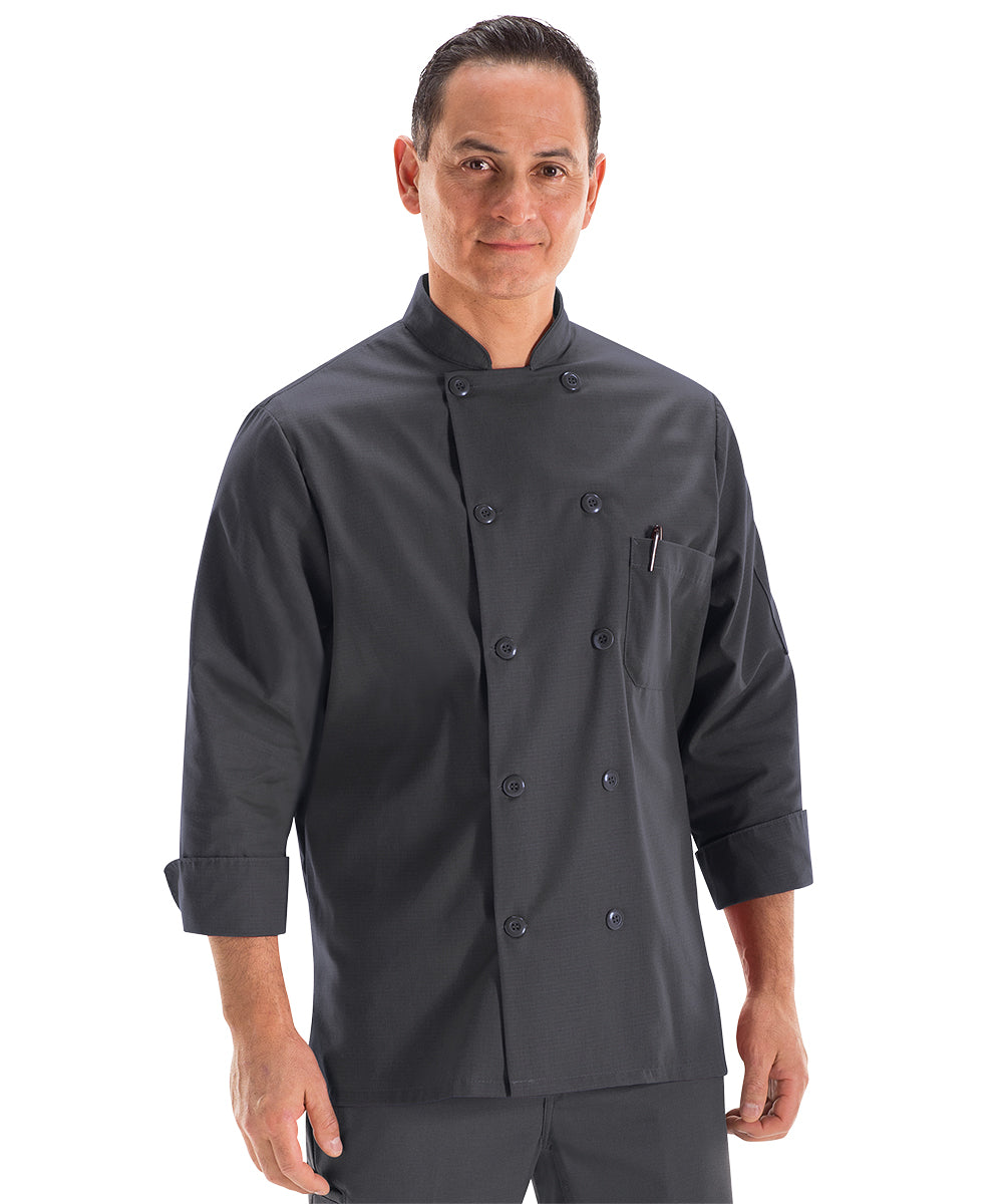 Men's MIMIX™ OilBlok Long Sleeve Ten Button Chef Coats (charcoal) as shown in the UniFirst Rental Catalog
