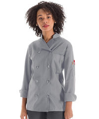 Women's MIMIX™ OilBlok Long Sleeve Ten Button Chef Coats (grey) as shown in the UniFirst Rental Catalog