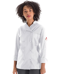 Women's MIMIX™ OilBlok Long Sleeve Ten Button Chef Coats (white) as shown in the UniFirst Rental Catalog