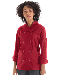 Women's MIMIX™ OilBlok Long Sleeve Ten Button Chef Coats (red) as shown in the UniFirst Rental Catalog
