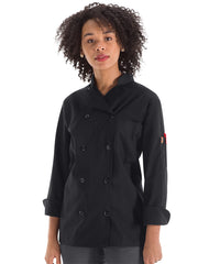 Women's MIMIX™ OilBlok Long Sleeve Ten Button Chef Coats (black) as shown in the UniFirst Rental Catalog