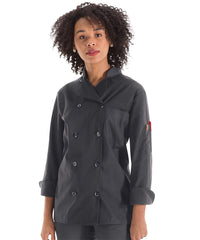 Women's MIMIX™ OilBlok Long Sleeve Ten Button Chef Coats (charcoal) as shown in the UniFirst Rental Catalog