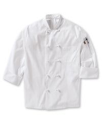 Men's  MIMIX™ OilBlok Long Sleeve Ten Knot Chef Coat (white) as shown in the UniFirst Rental Catalog