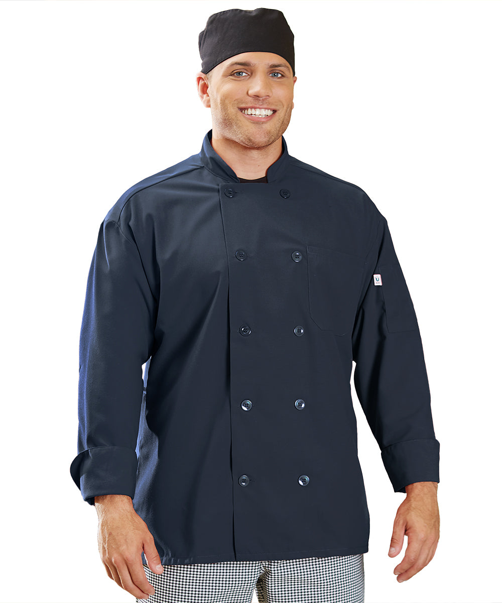 Powerhouse Chef Coat with Mesh Back (Navy) as Shown in the UniFirst Uniform Rental Catalog