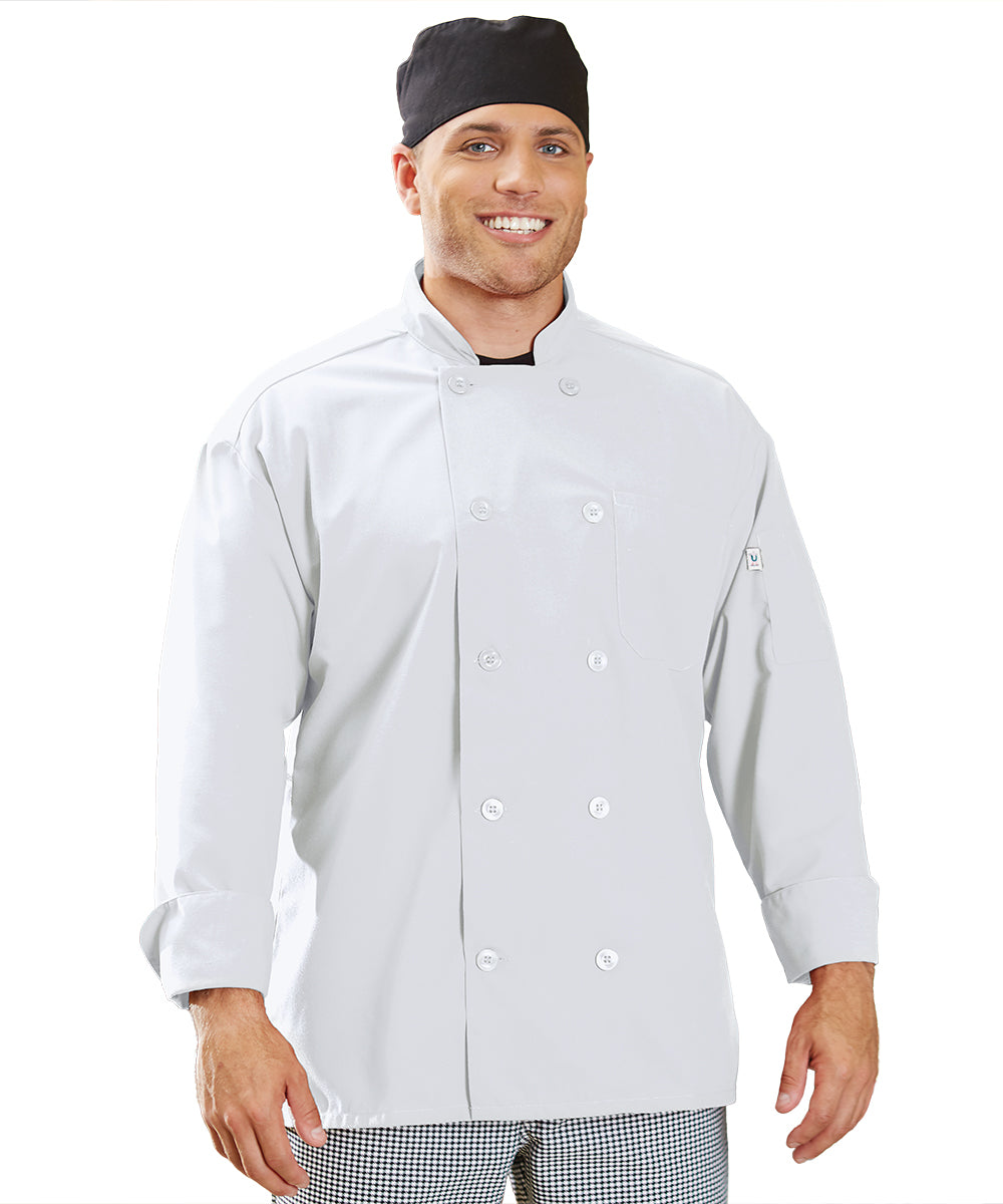 Powerhouse Chef Coat with Mesh Back (White) as Shown in the UniFirst Uniform Rental Catalog