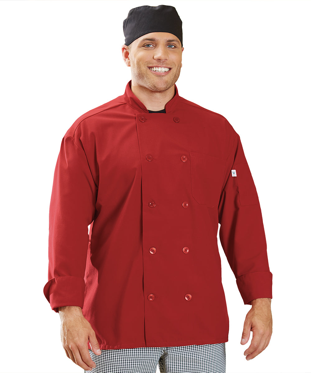 Powerhouse Chef Coat with Mesh Back (Red) as Shown in the UniFirst Uniform Rental Catalog