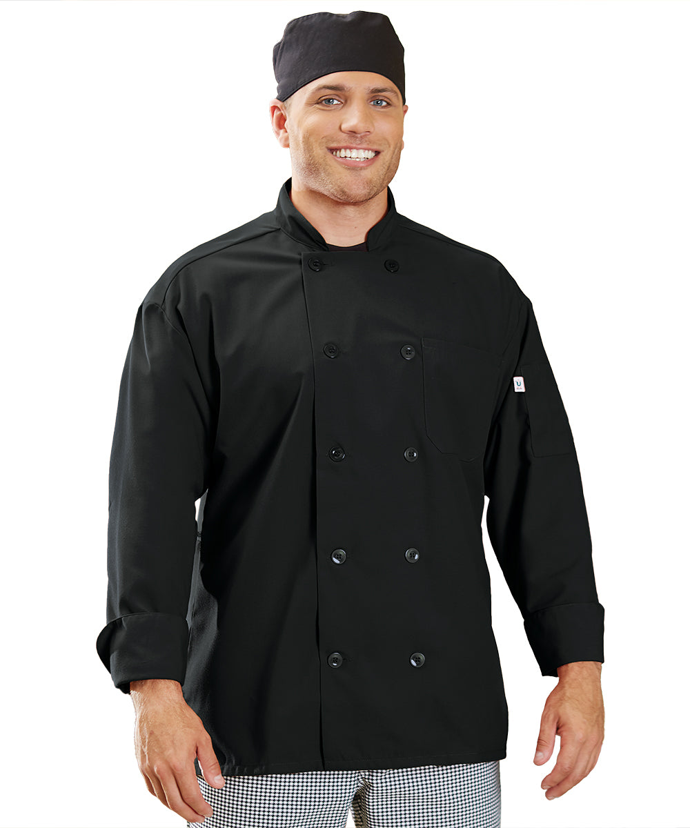 Powerhouse Chef Coat with Mesh Back (Black) as Shown in the UniFirst Uniform Rental Catalog